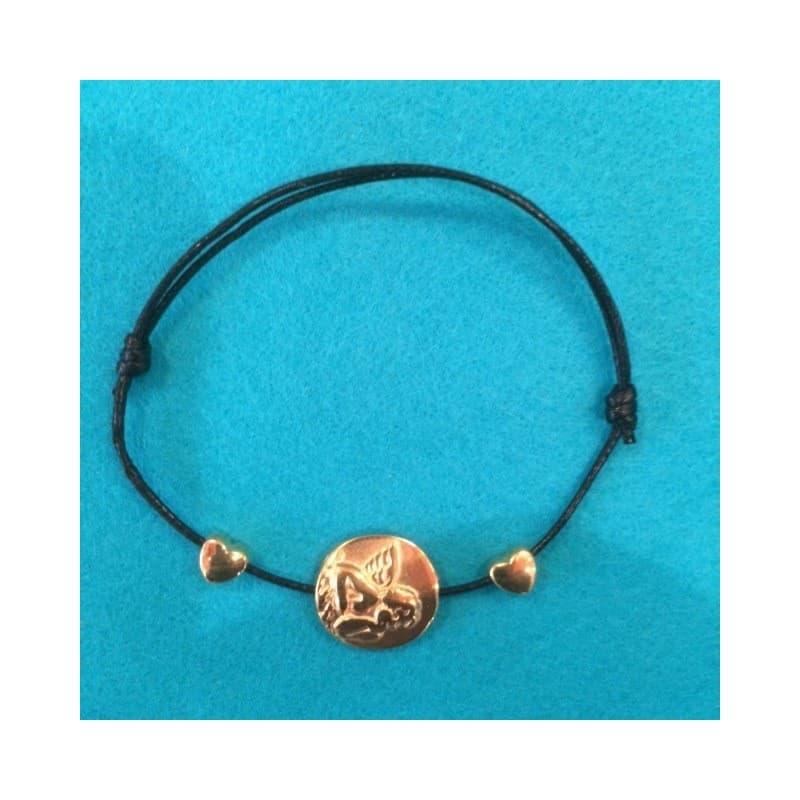 Le Bracelet Ange double coeur couleur or