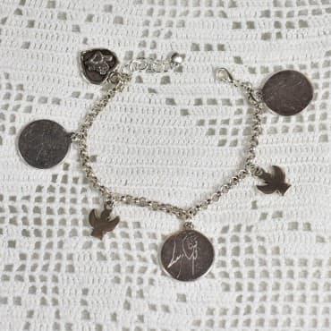 Bracelet 6 médailles argenté 2
