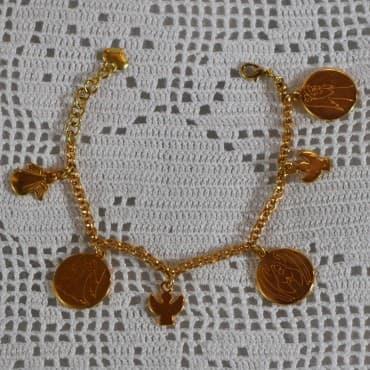 Bracelet 6 médailles doré