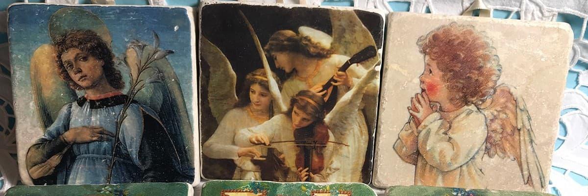 Ravenne Ange - La Boutique des Anges - Plaque de marbre Ange - Vente d' Ange